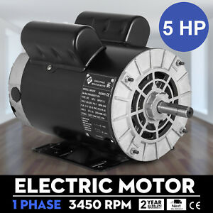 Electric Motor 5 Hp 3450 Rpm Compressor 1 Ph 5 8shaft Machinery 2 Pole 56 Frame