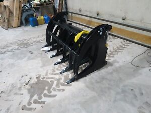 66 Inch Skid Steer Ms Attachments Root Rake Grapple Heavy Duty