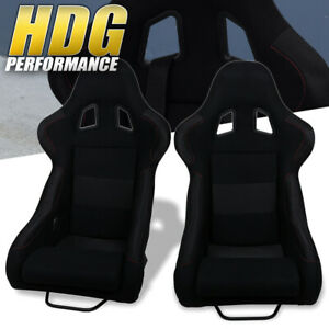 Light Weight Black Bucket Racing Seats Cloth Fiberglass Mount Sliders Rail