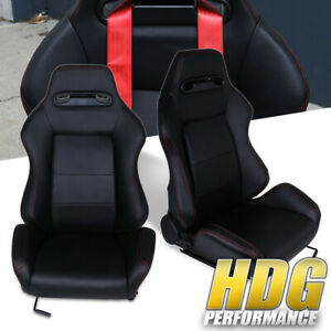 Universal Black Type r Racing Bucket Seat W Red Stitching Fully Reclinable Pair