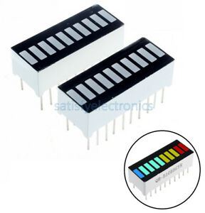 2 5 10pcs New 10 Segment Blue Green Yellow Red Colorful Led Bar Graph Indicator