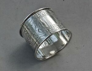 Napkin Ring Antique Germany German 13 Loth 800 Silver Hand Engraved 27