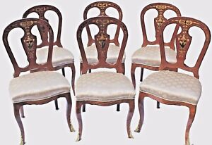 Antique Louis Xvi Style Mahogany Dining Chairs W Painted Inlay Set Of Six