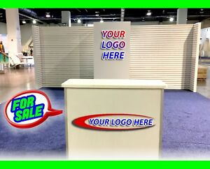 Used Trade Show Exhibit Booth Free Logos White Slat Wall Trade Show