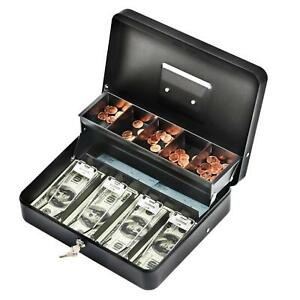 Cash Box With Money Tray Durable Large Steel Cash Boxes 5 Compartment Black New
