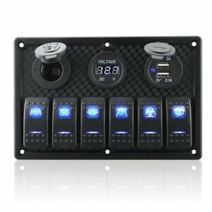 6 Gang Waterproof Rocker Switch Panel Digital Voltmeter Display Dual 5v Usb C