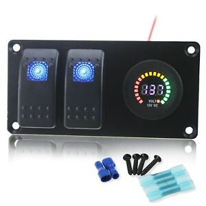 Iztoss Waterproof Dc 12v Aluminum Panel With Blue Rocker Switch And 12v Voltm