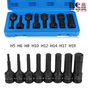 1 2 Drive Impact Socket Hex Bits 8pc Metric Set Long Air Allen Driver