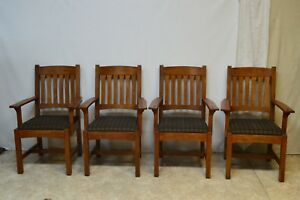 L J G Stickley Mission Style Oak Set Of 4 Dining Arm Chairs 89 324