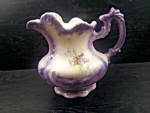 Vintage Victorian Antique Mid Century Glazed Purple And Ivory Pitcher Bb