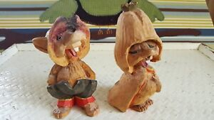 Lot Of 2 Trolls Henning Of Norway Hand Carved Wood Troll