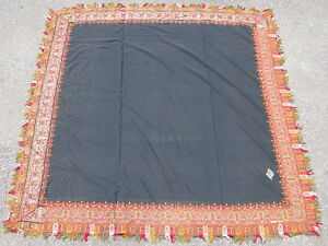 Antique French Textile Paisley Shawl Jacquard Loom Wool Ca 1910 Black 5 1x5 4ft