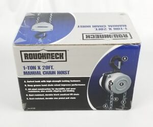 Roughneck 1 Ton Manual Chain Hoist 20ft Lift Dual Chains Outdoor indoor Use New