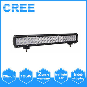 20inch 126w Cree Led Light Bar Work Flood Spot Driving Offroad 4wd Truck Fog Suv