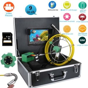 9 lcd Dvr 1000tvl 50m Ip68 Waterproof Drain Pipe Sewer Inspection Camera System