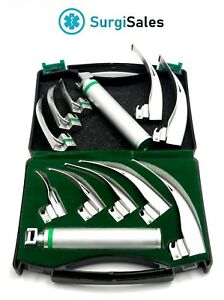 Fiber Optic Laryngoscope Mac Set Of 5 Blade Handles Fiberoptic German