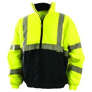 Occunomix Class 3 Reflective Safety Bomber Jacket With Black Bottom Yellow lime