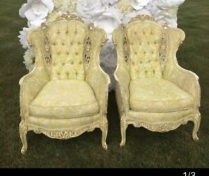 Pair Vintage Tufted Pale Yellow Wing Back Accent Chairs French Provincial