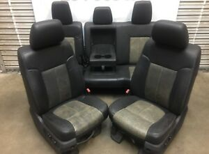 1999 2016 Ford F250 F350 Super Duty Front Rear Seats Black Leather