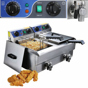 New 23 4l Commercial Deep Fryer W Timer And Drain Fast Food French Frys Electri