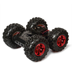 Red 4wd Smart Car Chassis Kit Iron Chassis Non Inflatable Rubber Tire