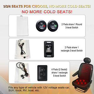 Car Seat Heater Kit Carbon Fiber Universal Heated Cushion Warmer 5 Level