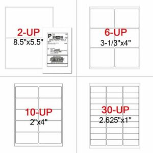 Shipping Label Self Adhesive Half Sheet 8 5x5 5 1x2 5 8 3 1 3x4 4x2 Laser Inkjet