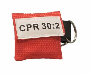 50 Red Cpr Mask Keychain Face Shield With Gloves Imprinted Cpr 30 2