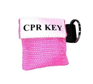 1 Pink Face Shield Cpr Mask In Pocket Keychain cpr Key