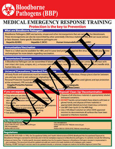 Bloodborne Pathogens And Emergency Oxygen Administration Reference Chart