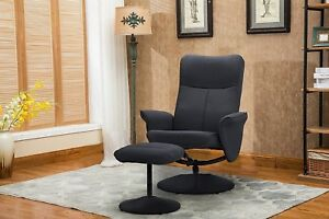 Recliner Chair With Footstool Gaming Chair Office Lounge Work Chair Dark Grey
