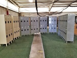 11 Tennsco Double Tier Six Compartment Lockers 12inw X 18ind X 78inh