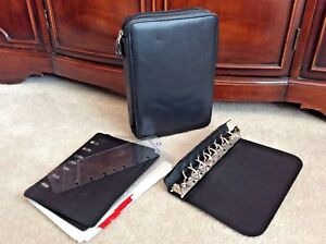 Classic Black Full Grain Nappa Leather Franklin Covey Planner Binder Space Maker