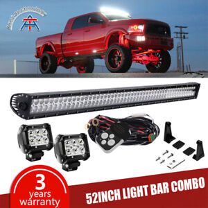For Jeep Wrangler Jk 52inch 700w Led Work Light Bar 4x 4 Pods mount Brackets