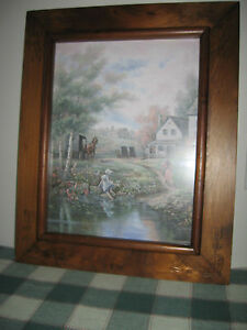 Antique Folk Art Frame Carved W Hearts Tulips Carl Valente A New Day 17 5x22