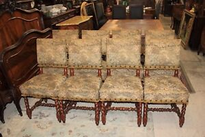 Set Of 8 French Antique Carved Louis Xiii Upholstered Chairs Barley Twist Legs