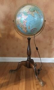 Vintage Replogle 12 Globe Lighted World Premier Series Stands 34 Inches Tall