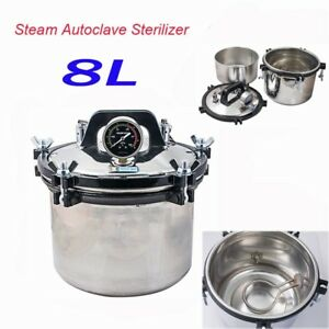 8l Portable Steam Autoclave Sterilizer Dental Equipment Stainless Steel Seal