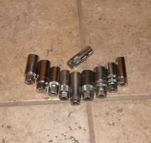Lot Of 10 3 8 Drive Spark Plug Sockets Blackhawk Pm Champion Proto Mac Husky