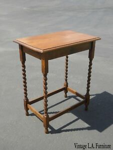 Vintage French Country Oak Barley Twist Side Table End Table