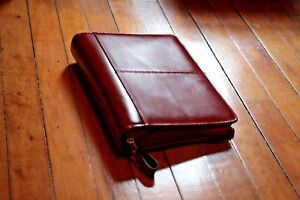 New Franklin Covey Classic Park Avenue Zipper Binder Red Leather 46819 Planner
