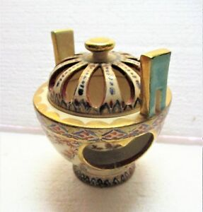 Late 19th C Japanese Satsuma Incense Burner Double Walled Finely Painted