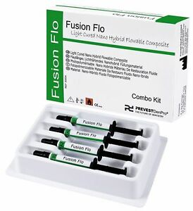 Fusion Flo Light Cured Kit Universal Nano Flowable Dental Composite 4 X Syringes