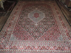 9x12ft Persian Medallion Design Indo Bijar Wool Rug