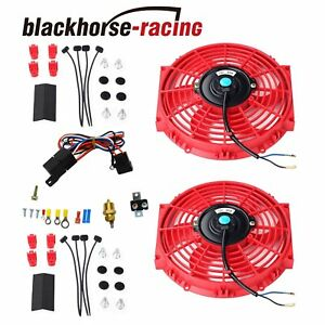2x 10 Red Electric Radiator Cooling Fan W thermostat Relay Mounting Kit