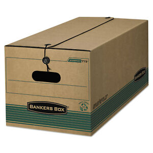 Bankers Box Stor file Extra Strength Storage Box Legal String button Kraft green