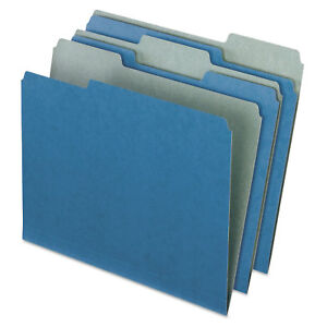 Pendaflex Earthwise Recycled Colored File Folders 1 3 Cut Top Tab Letter Blue