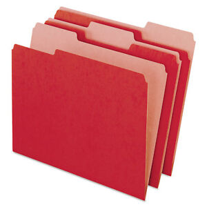 Pendaflex Earthwise Recycled Colored File Folders 1 3 Cut Top Tab Letter Red 100