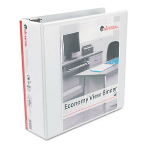Universal Economy Round Ring View Binder 3 Capacity White 6 pack 20992pk