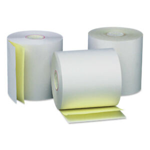 Universal Carbonless Paper Rolls White canary 3 X 90 Ft 50 carton 35767
